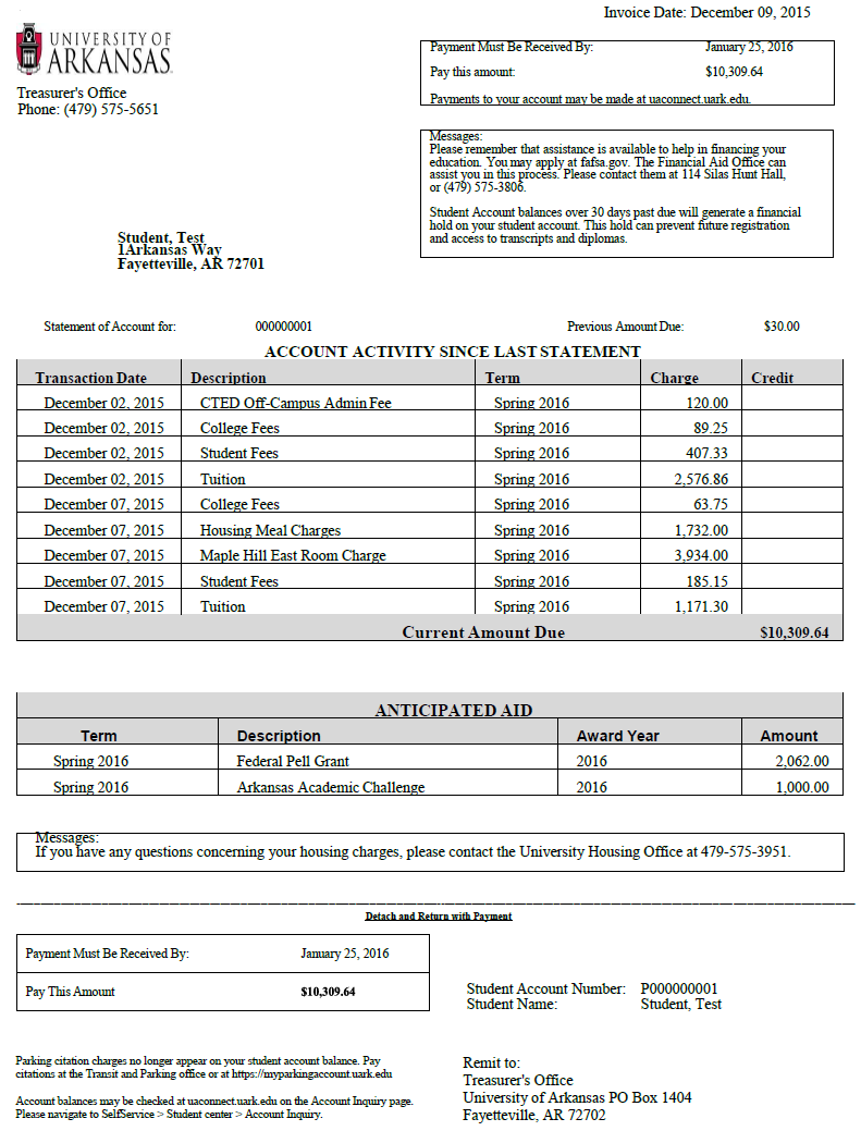 Billing Statements - Invoice statement