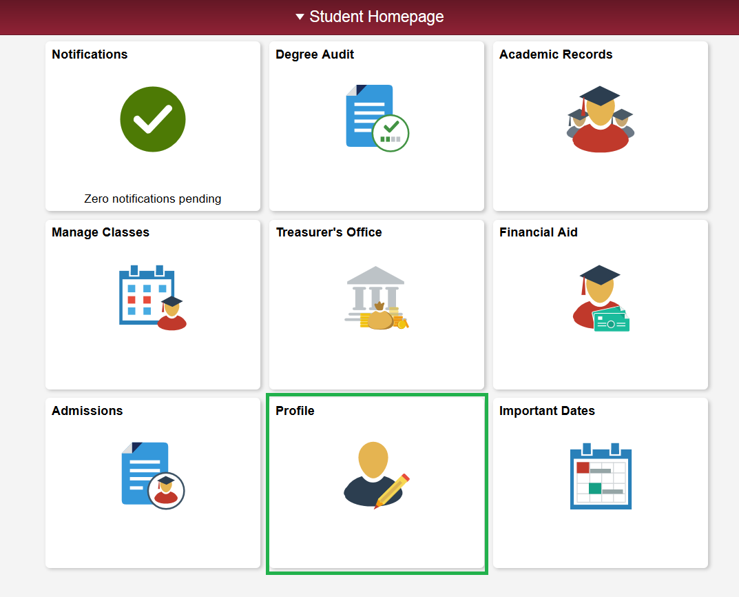 Example Student Homepage screen